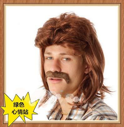 Star Perücke reifen männlichen Nicht-Mainstream-Persönlichkeit Bühnensänger Partei Leistung arabische Kapuze, schwarzen Bart (Kostüm Arabische Männliche)
