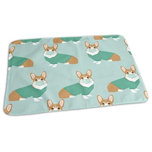 Corgi In Scrubs Fabric Operating Room Dog Fabric Dog Fabric - Light Blue, Baby Portable Reusable Changing Pad Mat 19.7