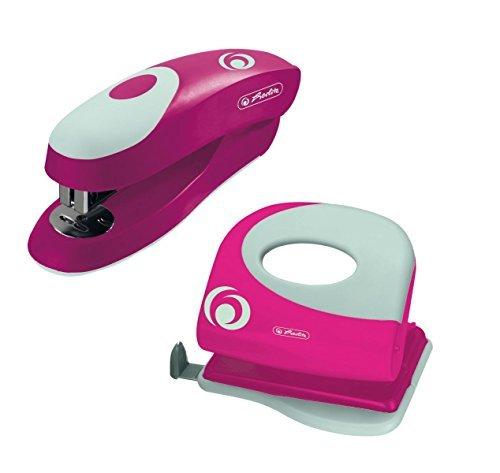 Büroset / Heftgerät 24/6 + Bürolocher mit Ansatzschiene / Farbe: pink