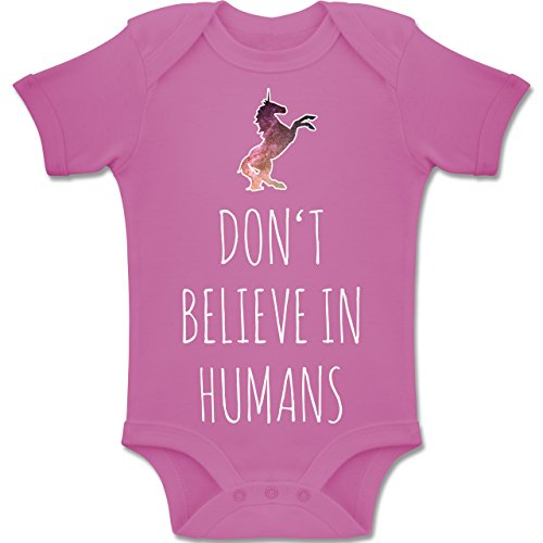 Shirtracer Up to Date Baby - Don't Believe in Humans - 3-6 Monate - Pink - BZ10 - Baby Body Kurzarm Jungen Mädchen