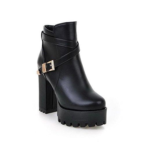 AgooLar Damen Wasserdicht Plattform Hoher Absatz Rund Zehe Rein Reißverschluss Stiefel Schwarz
