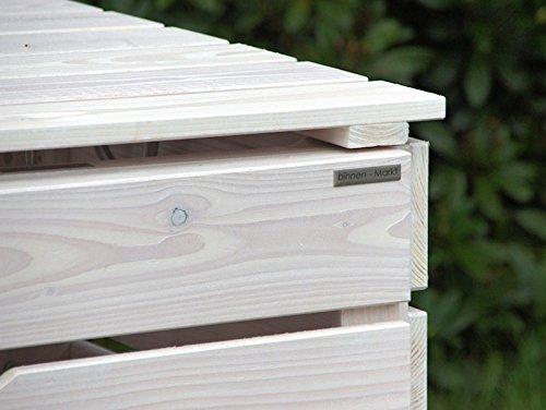 3er Mülltonnenbox / Mülltonnenverkleidung 240 L Holz, Transparent Geölt Weiß - 3
