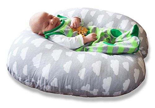 Baby Lounge Lagerungskissen 55 x 55 x 20 cm Liege-Kissen Nestchen Kopf-Kissen Schlaf-Kissen Erstausstattung Nackenrolle