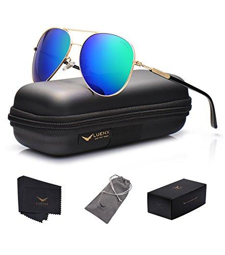 LUENX Herren Sonnenbrille Aviator Polarisiert mit Etui - UV 400 Schutz Spiegel Grün Linse Gold Rahmen 60mm