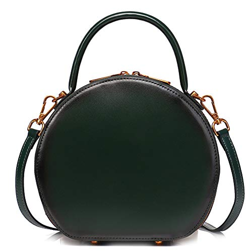 Women's Circle Messenger Sling Taschen Aus Echtem Leder Schulter Handtaschen Vintage Totes Satchel Handtasche Runde Top-Griff Tasche,Green-22 * 8 * 20CM -