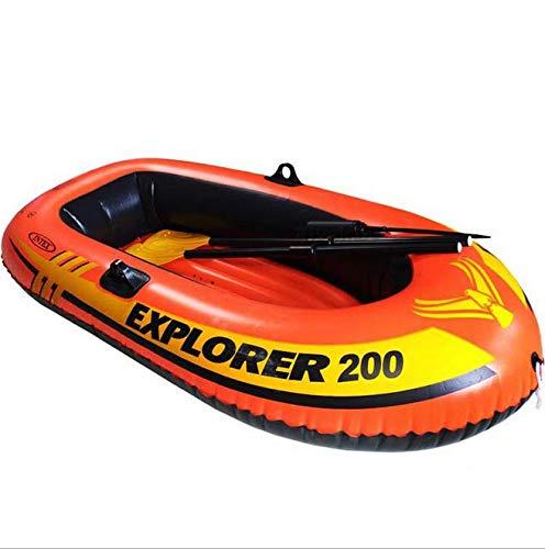 Inflatable boat escursione gommone set con remi in alluminio e pompa gommone gonfiabile barca 2 persone canoa con paddle sport acquatici (185cm x 94cm x 41cm)