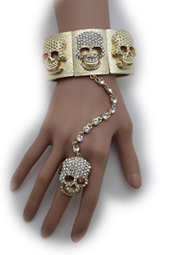 television-francaise-juive-mode-bijoux-femme-chaine-de-main-poignet-bracelet-charm-squelette-cranes-