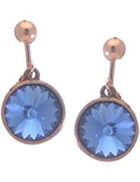 RIVOLI Antikisiert Kupfer Swarovski Saphir-Kristall-Clip auf Ohrringe