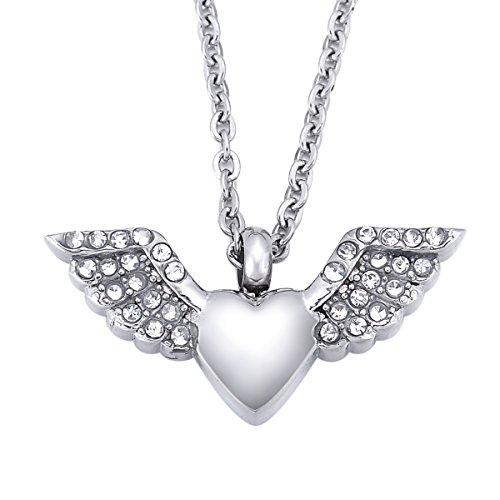 Engel Flügel Herz Gedenkurne Anhänger Halskette Edelstahl Strass Asche Andenken Verbrennung Jewelry (Trauer Schmuck)