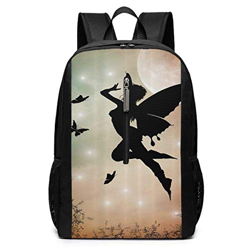 TRFashion Rucksack Fairy with Angel Wings Laptop Backpack 17 Inches Travel Gym Bag Yoga Bag School Bag Book Bag for Men Women Teenagers -