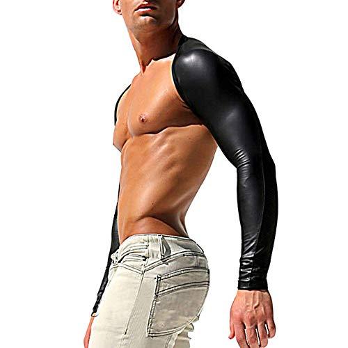 Männer Wet Look Kunstleder Sexy Arm Long Sleeves Achselzucken Brust Lackleder mit Schulter Rüstungen Cosplay Phantasie Karneval Kostüm,XXL