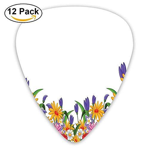 Print Tulip Rock (Cartoon Like Print Garden Floral Daisies Violets Tulips Nature Theme Guitar Picks 12/Pack Set)