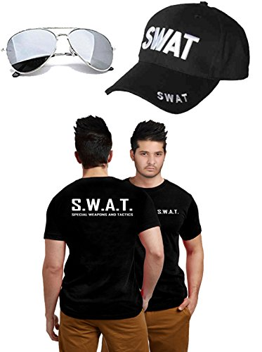 GCC Fashion Store Herren Swat Polizei, Motiv Tommy Gun Sonnenbrille, Militär-FBI Fancy Kleid ()