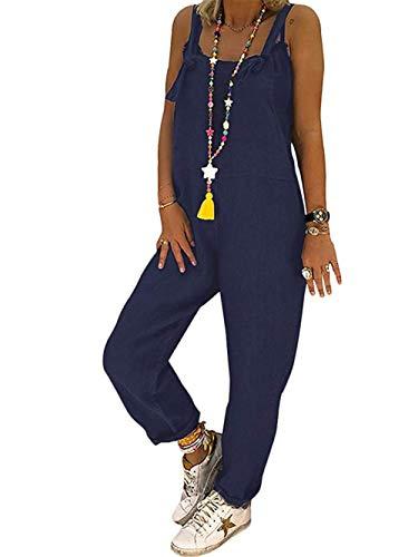 DOTBUY Damen Latzhose Jumpsuits Playsuit Overall mit Taschen Sommer Casual Elegant Loose Baggy Leinen Lange Wide Leg Hosen (L,Blau)