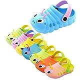 Dorical Süß Karikatur Caterpillar Hausschuhe Sommer Unisex Kleinkind Baby Jungs Mädchen Mädchen Indoor-Schuhe Sandalen Strand Sandalen Flip Schuhe Strandschuhe Badezimmer Schuhe(Blau,28 EU)