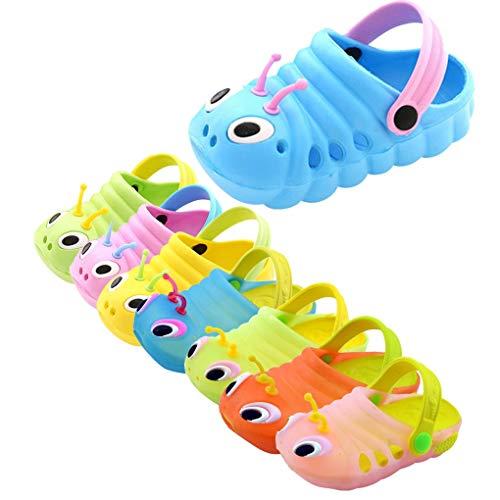 Dorical Süß Karikatur Caterpillar Hausschuhe Sommer Unisex Kleinkind Baby Jungs Mädchen Mädchen Indoor-Schuhe Sandalen Strand Sandalen Flip Schuhe Strandschuhe Badezimmer Schuhe(Blau,20 EU)