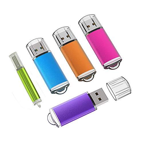 KEXIN USB Stick, 5 Bunt USB-Stick 16GB Stück Speicherstick 2.0 Mini Flash-Laufwerk Memory Sticks mit Kappe (Blau, Lila, Hot-Pink,Grün, Orange) (16GB*5PCS) -