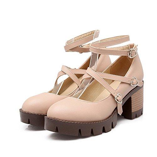 AllhqFashion Damen Mittler Absatz Rein Schnalle Rund Zehe Pumps Schuhe Pink