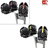Sporteq Verstellbare Hanteln 24 kg, 40 kg Gewichts-Set einstellbar Gym Fitness Workout, Herren, Damen, Schwarz , 1 x Dumbbells (single)