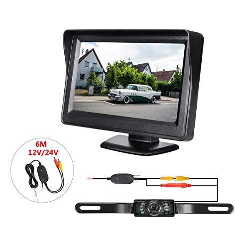 Excelvan Caméra de Recul de Voiture sans Fil Etanche avec Vision Nocturne Ecran 4.3 Pouces à Haute Définition Moniteur Rétroviseur Panoramique 2V-24V Système de Vision Arrière pour Voiture
