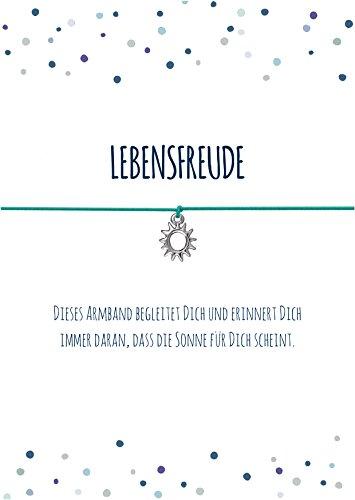 Spruch - Armband LEBENSFREUDE mit Sonne Anhänger versilbert, elastischem Textilband in türkis und liebevoller Karte: ...dass die Sonne für Dich scheint