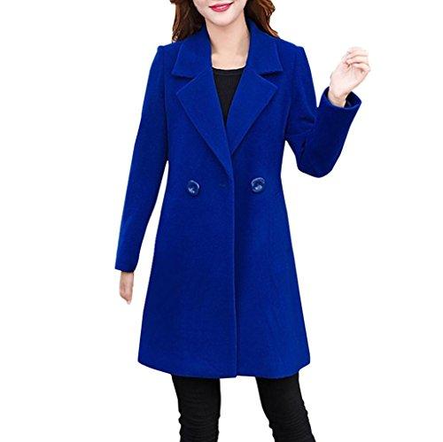 Langer Wollmantel Damen, DoraMe Frauen Dicker Kaschmirmantel Outwear Cardigan Schlanker Mantel Herbst Winter Lässig Solide Windjacke(Bitte wählen Sie eine größere Größe als üblich) (Blau, L) (Farben Stricken Wählen Sie)