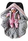 BABEES© WINTER Einschlagdecke mit Füllung für Babyschale Autositz, Universal z.B. Maxi-Cosi Römer Cybex, warm Minky Baby Decke mit Klettverschluss für Kinderwagen Babytragen Babybett wattiert
