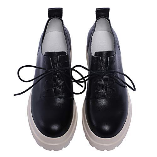 YAN Damensportschuhe Leder-Plattform Schuhe Low-Top Casual Shoes Spring Fall Mode Damen Sneakers Outdoor Wanderschuhe schwarz,Black,42 - Black Leder-plattform
