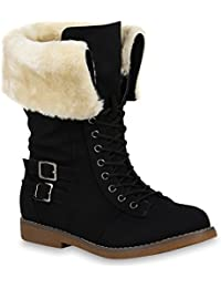 fefcb7c29596 Stiefelparadies Damen Stiefeletten Worker Boots Übergrößen Warm Gefüttert  Flandell