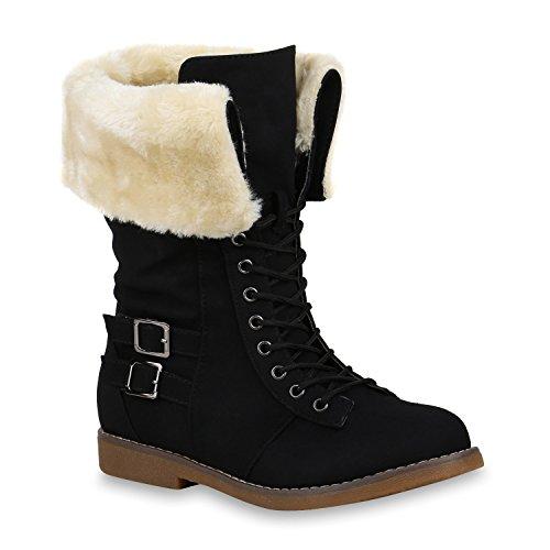 Damen Schuhe Schnürstiefel Warm Gefütterte Stiefel Kunstfell Schnallen 153148 Schwarz Aurtol 37 Flandell