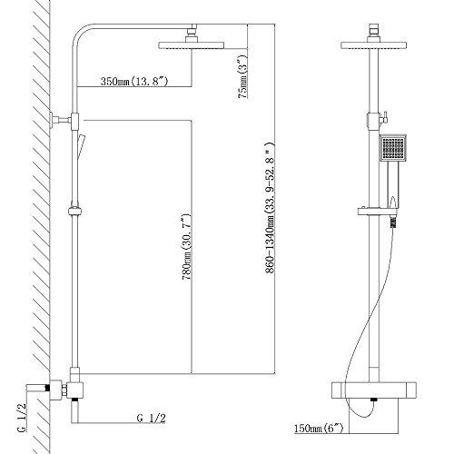Homelody – Duscharmatur mit Thermostatfunktion und LED-Regendusche, Chrom - 8
