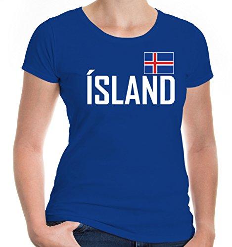 e T-Shirt Island | Iceland Islande Islandia Islanda Europa Ländershirt Trikot Reise | XS, Blau (Tourist Kostüm Halloween)