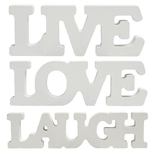 Trixes 3-teiliges Set freistehende & stapelbare Holzblöcke mit den Worten Live Laugh Love in Weiß