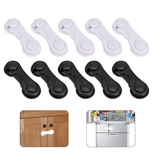 Schwarze Fünf Schubladen (OZUAR 10 Stück Kindersicherung Schranksicherung Baby Türsicherung Schranksicherung Schubladensicherung Kindersicherung Türriegel für Schränke und Schubladen 5 Schwarz 5 Weiß)