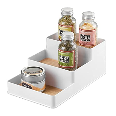 mDesign Spice Rack Organiser for Kitchen Countertop, Cabinet, Pantry - Small, White/Light Wood