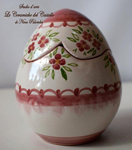 Uovo Porta cioccolatini Porta gioielli Handmade Le Ceramiche del Castello Idea Pasqua Idea Bomboniera Made in Italy Dimensioni 9,50 x 12 centimetri