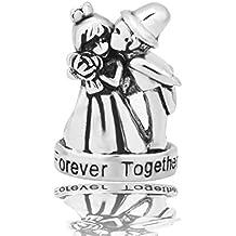 De novia boda cuenta para pulsera y del novio y de la Fit Pandora Together Forever cuenta para pulsera diseño de corazones pulseras