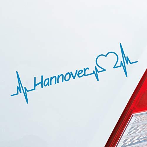 Auto Aufkleber in deiner Wunschfarbe Hannover Herz Puls Stadt City Sticker Liebe Love ca. 19 x 5 cm Autoaufkleber Sticker