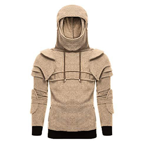 Setsail Herren Vintage Maske Ellenbogen Knopf Pullover Langarm Kapuzen Sweatshirt Tops Bluse (Grüner Pullover Uniform)