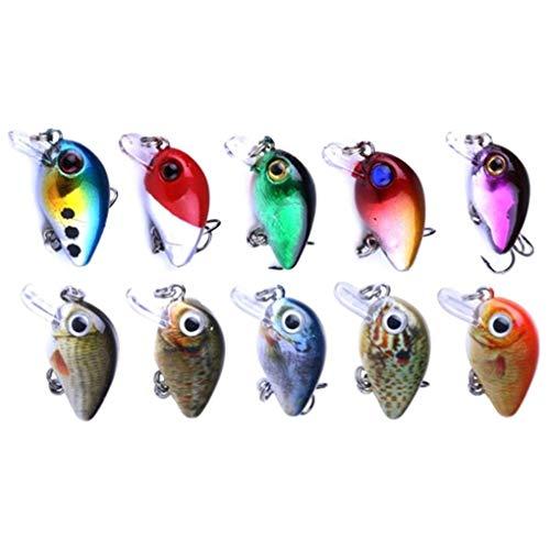 Bomcomi 10Pcs Angelkder Große Hart Locken mit Haken Naturgetreue Swimbait Fischköder Augen Popper für Bass Trout Walleye Rotbarsch -