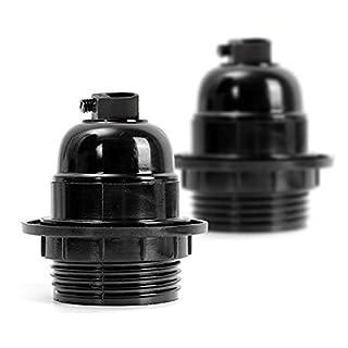 2 Pack Vintage E27 Lamp Holder ES Screw Light Bulb Holder Pendant Socket Black Color