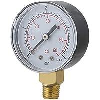 Garciasia Práctico Piscina SPA Filtro Manómetro de Agua Mini 0-60 PSI 0-4 Bar Montaje Lateral Rosca de tubería de 1/4 Pulgada NPT TS-50 (Color: Negro)