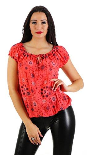 ZARMEXX Damen Kurzarmbluse Carmenbluse Oberteil Sommerbluse Shirt Tunika gemustert One Size Lachs