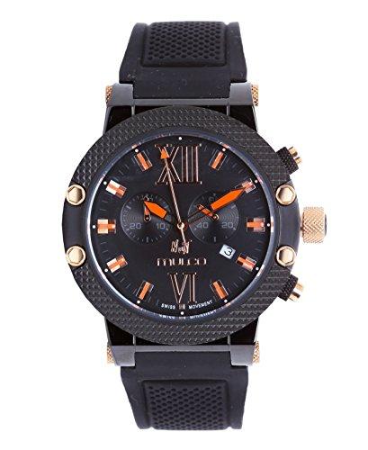 Mulco Nuit Unisexe Swiss montre à quartz boîtier en acier inoxydable avec bracelet en caoutchouc Noir