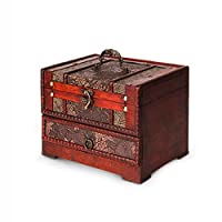 Jueven Retro Antique Flower Carved Wooden Jewelry Storage Box Chinese style makeup box storage with mirror large-scale portable desktop jewelry box drawer