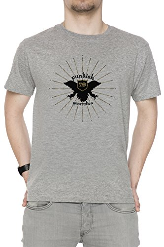 Punkish Generation Uomo T-shirt Grigio Cotone Girocollo Maniche Corte Grey Men's T-shirt