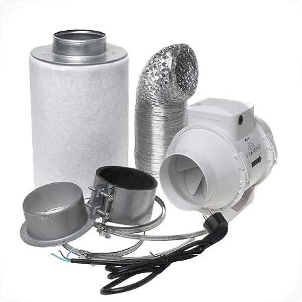 Aktivkohlefilter Abluft Lüftungsset Inkl Rohrventilator 280 M H Belüftungsset Für Growbox Homebox Garten