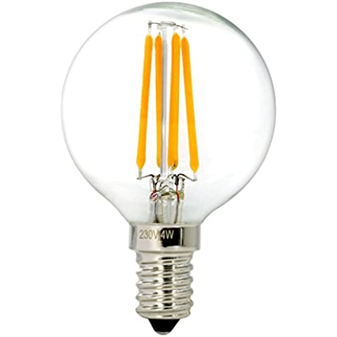 NATIONALMATER G50 4W E14 Globular LED Bombilla Vintage Edison, Bombilla de Filamento, 2700K Blanco Cálido, 400LM, LED Bombilla de Bajo Consume,Incandescente Equivalente a 40W, 360° Ángulo del Haz