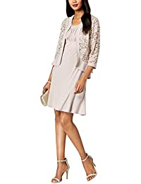 9a7a321745 R M Richards Women s Two Piece Lace Ruffle Front Jacket Dress Missy