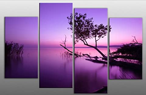 """Large Purple Toned Sunset Lake Canvas Picture Artwork 4 pieces multi panel split canvas ready to hang, hanging template included for easy hanging, UK company 40"""" width 27"""